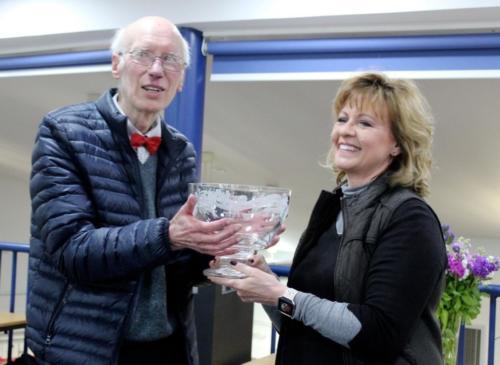 2019 May 1 Richard receiving Tamsyn Imison Award from engraver Lesley Pyke