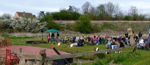 69. 2008 April audience at Black Shuck performance on Folly meadow