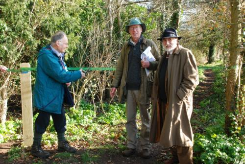 81. 2009 November Wilfrid George with Richard Woolnough (MG Trust Chair) and John Bennett (Southwold Railway Trust Chair) 'opening' Rails' End
